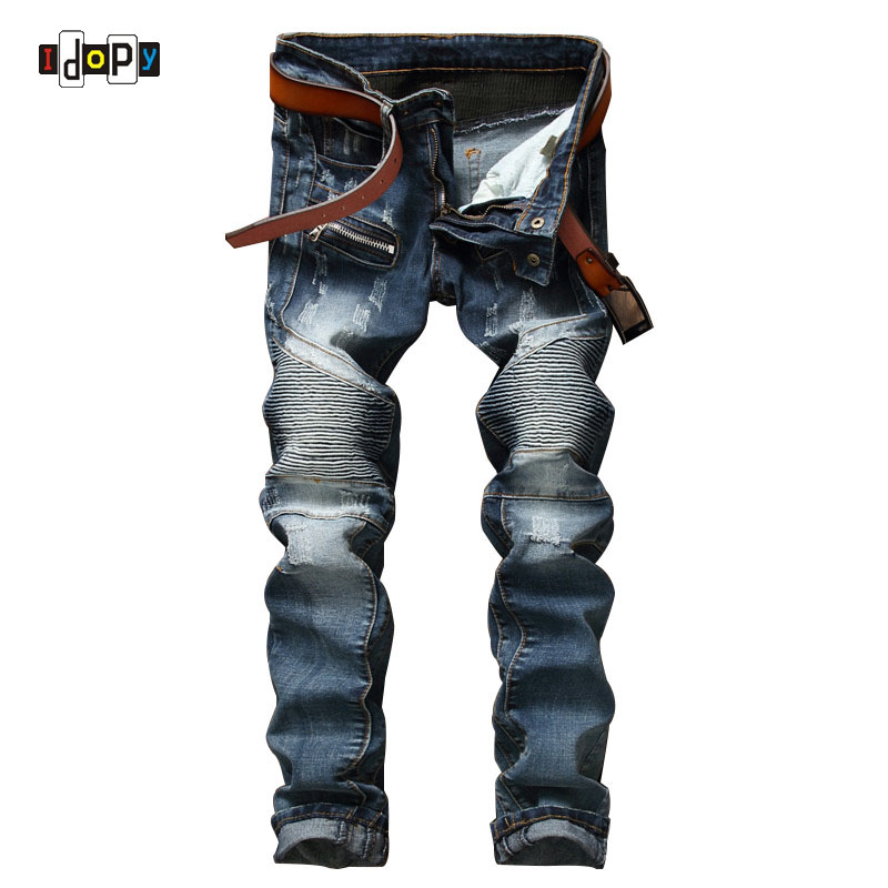 ФОТО Fashion Men's Ripped Biker Jeans Brand Designer Distressed Vintage Washed Denim Pants With Zipper Patch Pleated Jeans For Men