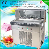 Free Ship CE Approved 220V 50hz 60hz Flat Pan Freezing Ice Cream Machine Frying Ice Cream
