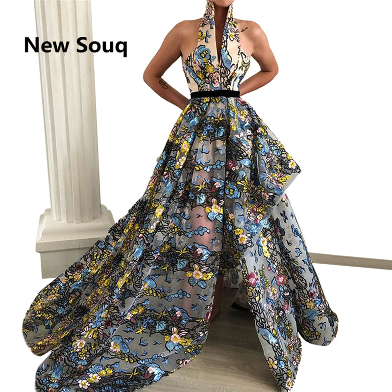 Sexy Halter Backless Side Split   Prom     Dresses   Printed Tulle Sweep Train Long   Prom     Dress   2019 South Africa Evening Gowns