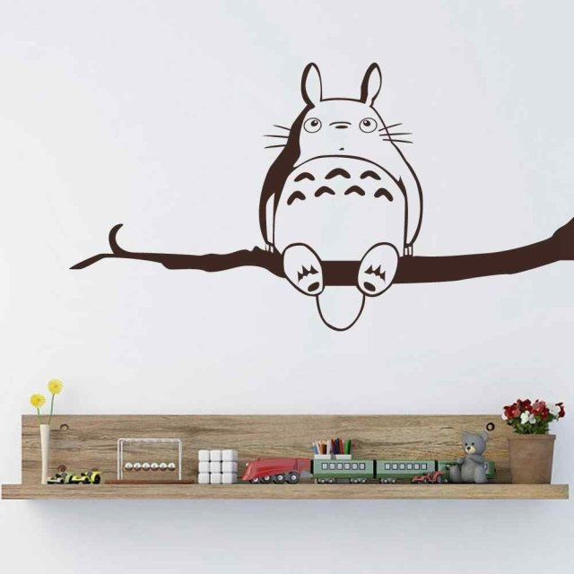 POOMOO Wall Sticker,My Neighbor Totoro Vinyl Wall Sticker Inspired Totoro  Wall Decal For Children