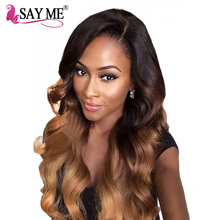 SAY ME Peruvian Body Wave 1b/4/30 Non Remy Ombre Human Hair Weave Bundles Auburn 10-26 Light Brown Hair Weft 100g 3 Three Tone