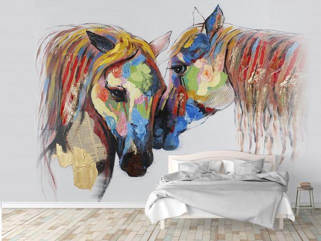 europ ische gemalt 3d wandbild paar pferd 3d wallpaper w nde l bunte 3d tv hintergrund tapete. Black Bedroom Furniture Sets. Home Design Ideas