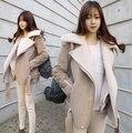 2016 de invierno nuevo estilo Europeo abrigo de lana de cordero solapa párrafo corto Delgado delgada chaqueta gruesa de algodón