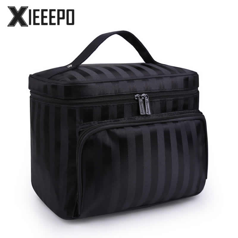 Women Travel Cosmetic Bag Striped Pattern Makeup Case Zipper Make Up Bags Organizer Storage Pouch Toiletry Kit Wash Beauty Bags wimius 4k action cam wifi 20m mini sport helmet fpv camera full hd 1080p go waterproof underwater 30m pro dvr for bike motorcyle