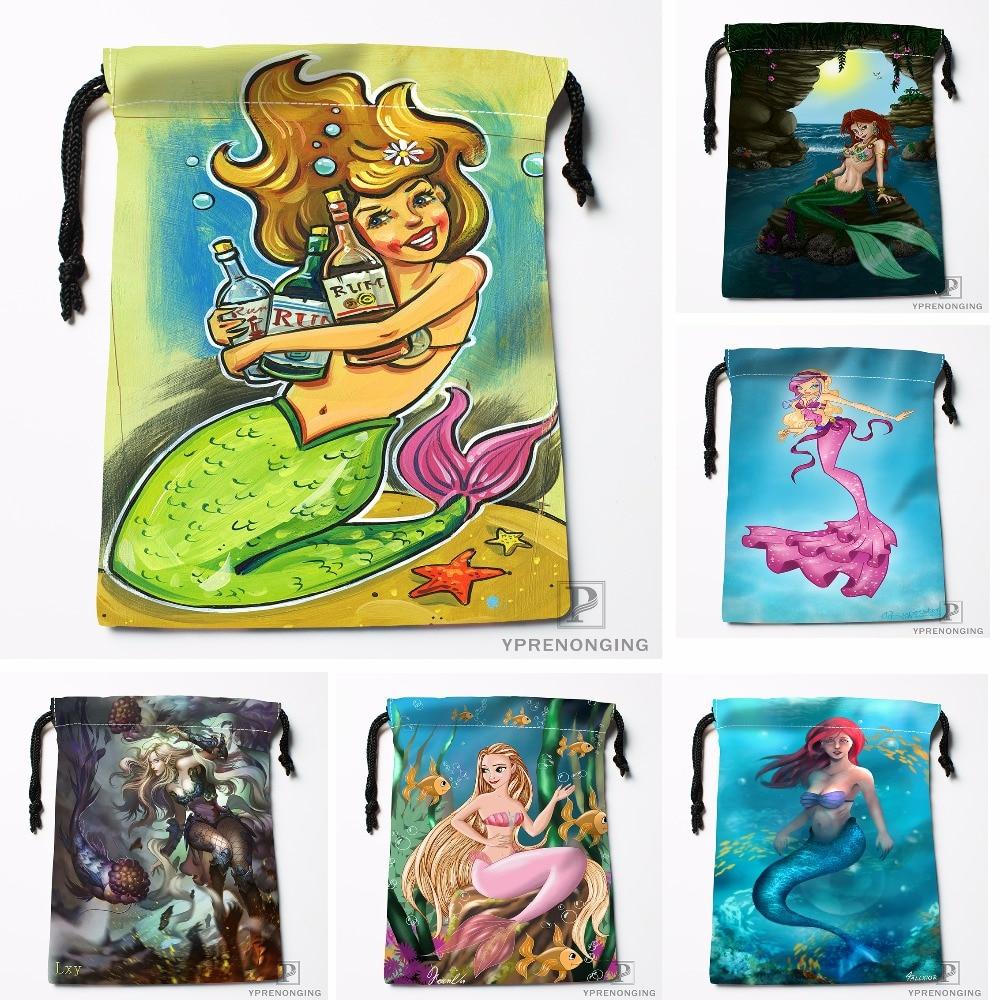 Custom Tiana Mermaid By Fernl Drawstring Bags Travel Storage Mini Pouch Swim Hiking Toy Bag Size 18x22cm#0412-04-237