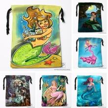 Custom Tiana Mermaid By Fernl Drawstring Bags Travel Storage Mini Pouch Swim Hiking Toy Bag Size 18x22cm#0412-04-237