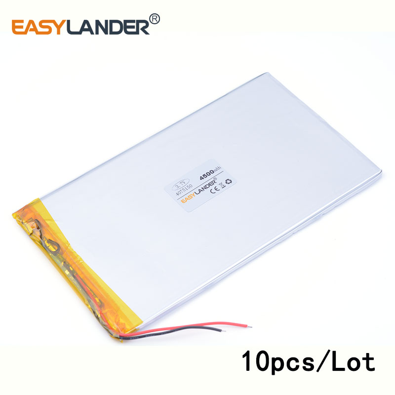 10pcs /Lot 4500 mah 4075150 3.7v lithium Li ion polymer 9 inches tablet battery domestic the built-in rechareable battery ...