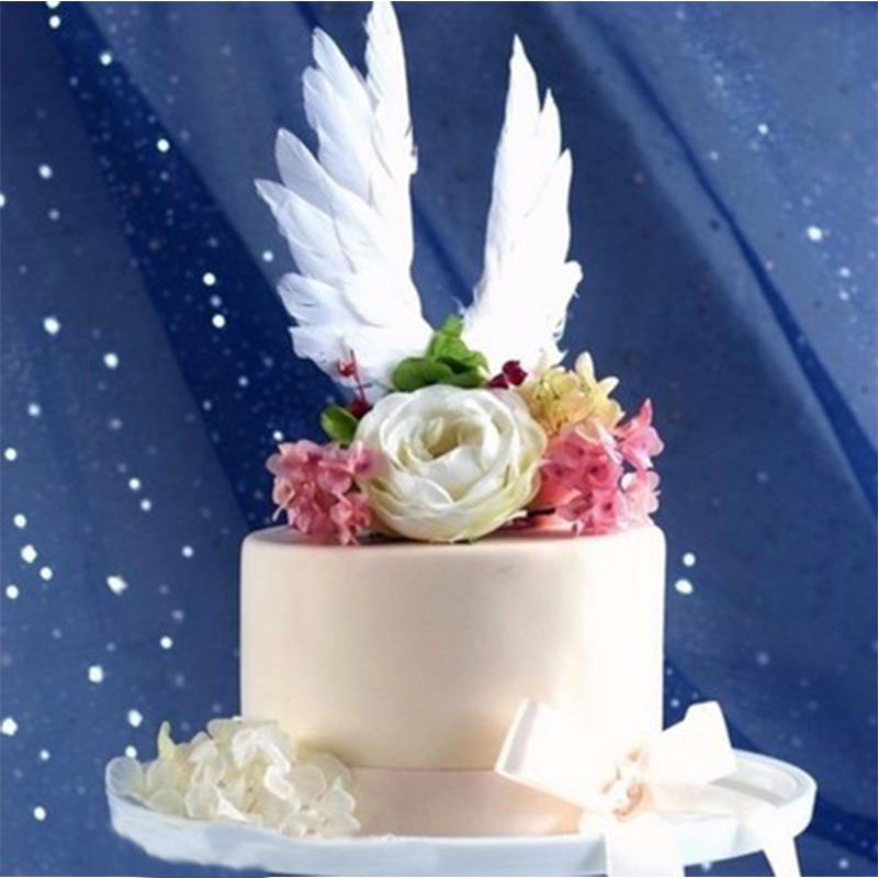 1PC White Feather Cake Toppers For Mariage Valentines Day ...
