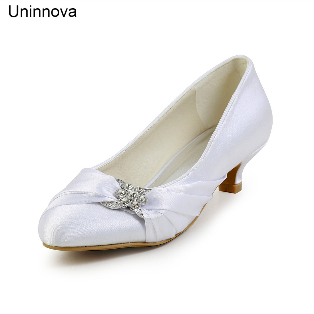 Bridal Bridesmaid Crystal Knot Med Heel Wedding Pumps Round Toe Ivory White Champagne Royal Blue Big