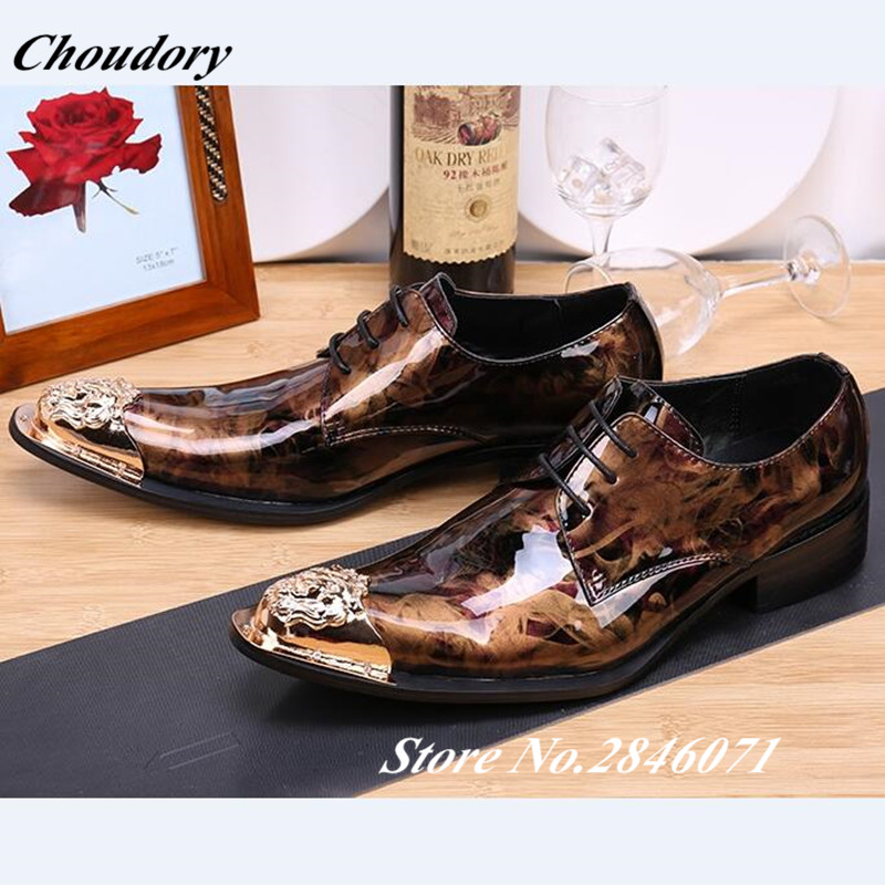 Spring Mens Designer Dress Shoes Handmade Patent Leather Italian Brand Metal Toe Spiked Printing Men Prom Shoes Zapatos Hombre fashion top brand italian designer mens wedding shoes men polish patent leather luxury dress shoes man flats for business 2016