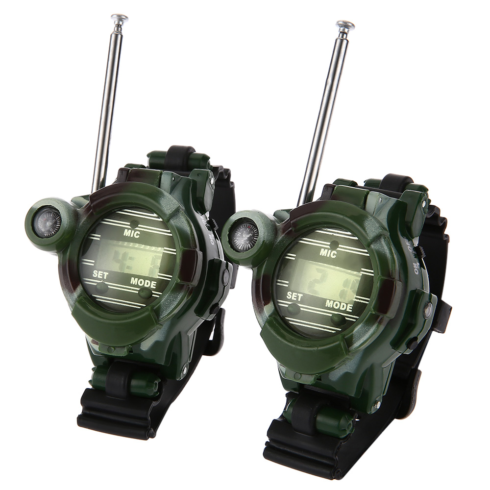 2pcs 7 in 1 Walkie Talkie Watch Camouflage Style Children Toy Support Nightlight Watch Magnifying lens Compass Speculum2pcs 7 in 1 Walkie Talkie Watch Camouflage Style Children Toy Support Nightlight Watch Magnifying lens Compass Speculum