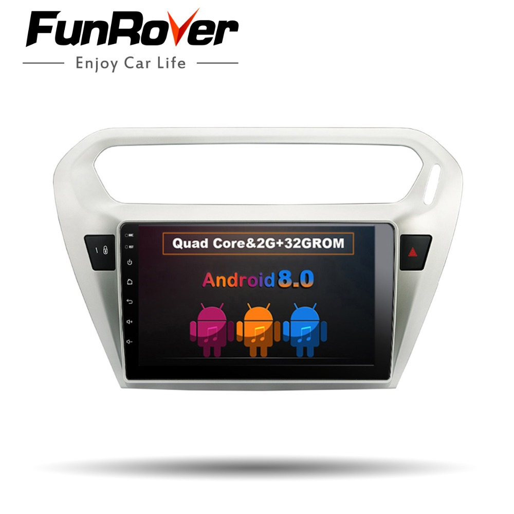 Funrover 9 Android 8.0 2 din Voiture dvd Radio Player pour Citroen Elysee/Peugeot 301 2014-2016 voiture Multimédia GPS playe 2g + 32 gb BT