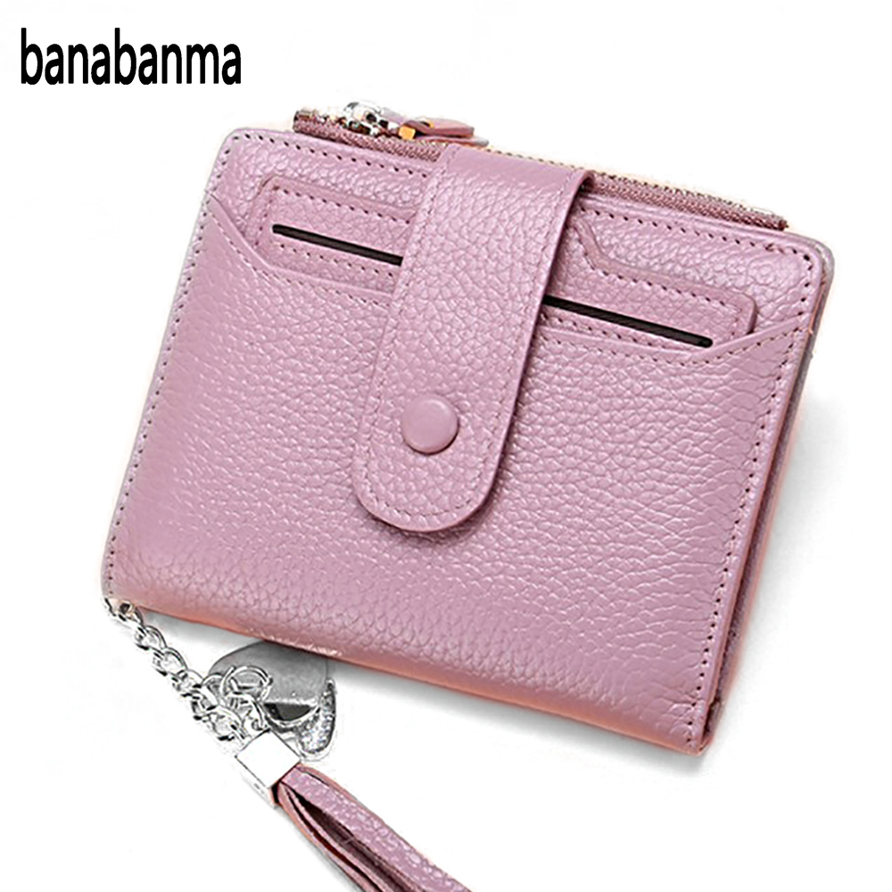 Banabanma Women Genuine Leather Bifold Wallet With ID Window Card Sleeve Anti RFID Clutch Zipper Hasp Candy Color Purse ZK30
