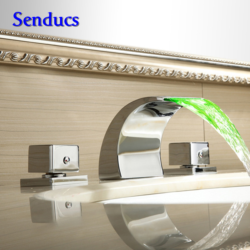 Free shipping Three pieces LED bathroom waterfall faucet with single handle  hot cold basin sink faucetOnline Get Cheap Single Piece Bathroom Faucet  Aliexpress com  . Three Piece Bathroom Faucet. Home Design Ideas