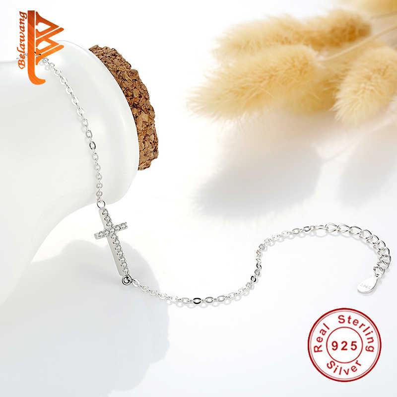 BELAWANG 高級 925 スターリングシルバークロスチャームブレスレット Aaa + 小型クリスタルリンクチェーンブレスレット女性のウェディングジュエリー