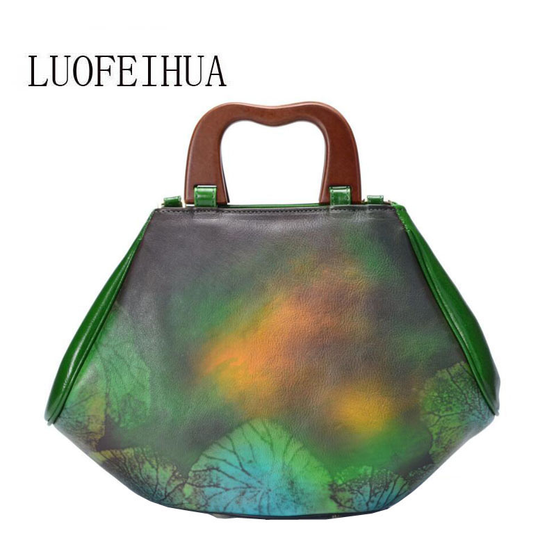 LUOFEIHUA  2019 new spring and summer Chinese style hand-painted leather handbag women Wild Messenger Bag Designer bagsLUOFEIHUA  2019 new spring and summer Chinese style hand-painted leather handbag women Wild Messenger Bag Designer bags