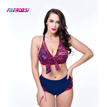 Women Retro Bikini Set Push up Swimwear Plus Size Swimsuit Bandage Monokini Bikinis Vintage Swimming Suit Beachwear