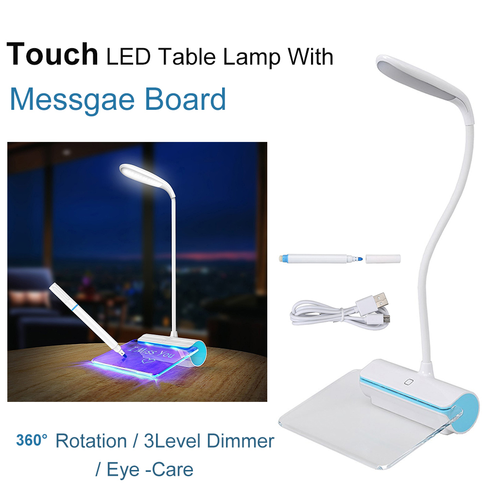 Portable Touch Control Night light Table lamp with Fluorescent Message Board 3-Mode Brightness USB Port Eye care Book Lamp