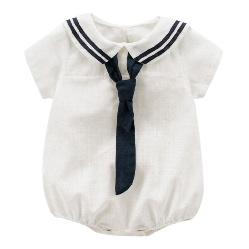 Tie Naval Style Baby Boys Romper Solid Short Sleeve Jumpsuit Summer Newborn Baby Boy Clothes Baby Clothing puseky 2017 infant romper baby boys girls jumpsuit newborn bebe clothing hooded toddler baby clothes cute panda romper costumes