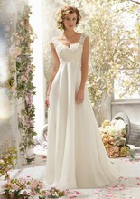 New Design V Neck Charming Empire Wedding Gown Appliqued Chiffon Dress 2016 sexy backless lace appliques