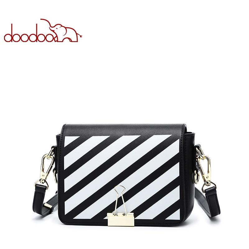 DOODOO Brand Fashion Stripe Bags Women Leather Shoulder Bag Small Women Messenger Bag Candy Color Wide Shoulder Straps Handbags stripe off shoulder playsuit