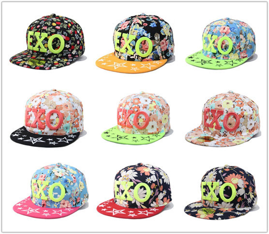 a513bcee073  Gino Cap  Freeshipping ! 2014Hot new Floral embroidery EXO hithop stars  Script Snapback Hats classic flower style baseball caps