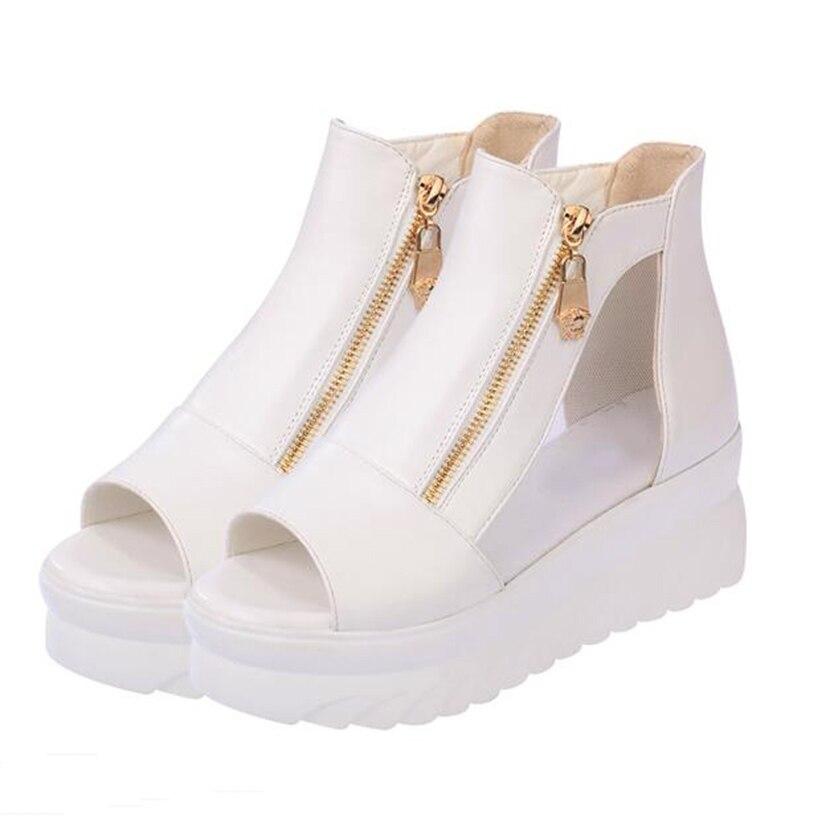 Haute Rome 30 blanc Casual forme Femme Des Bottes Chaussures Zip top Tête 2018 Épais Plate Poissons Compensées D'été Noir Femmes Sandales Avec S1BqHaxn