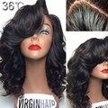 Малайзии полный Wig150Density человеческих волос с правой стороны короткое кружева перед парик виргинский волос Glueless фронта парик для чернокожих женщин