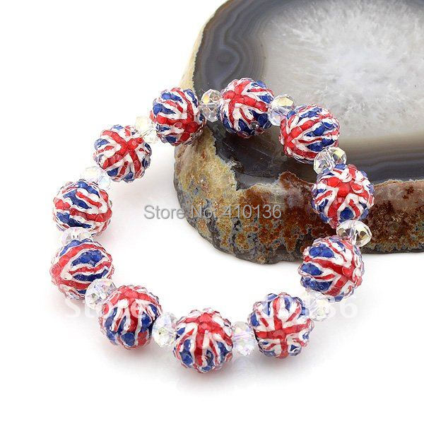 Bcx124 Fashion Union Jack Bracelet 12mm Arcylic Disco Ball Beads With 8mm Clear Crystal Uk Flag