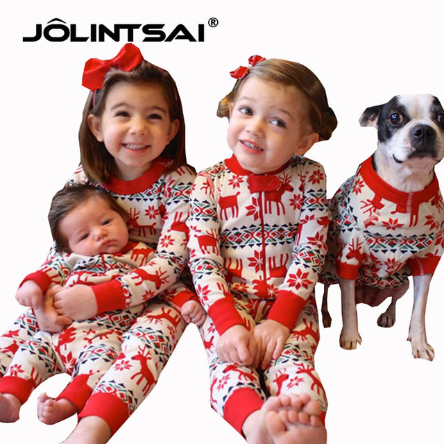 Family Christmas dear Pajamas Matching Clothes Mother Daughter Father Son  Baby New Year Look Sets 100% Cotton outfits - Family Christmas Dear Pajamas Matching Clothes Mother Daughter