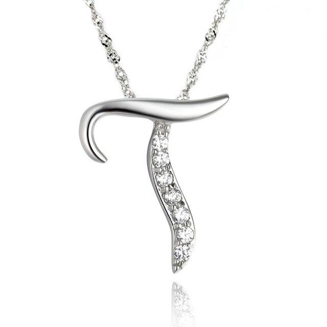 7adf3059f15c 10 unids lote moda Simple estilo Noble cristal letra T colgante collar