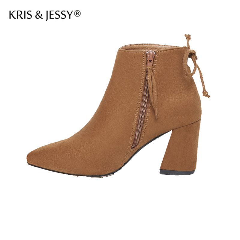 Kris&Jessy Fashion Women Boots High Heels Ankle Boots Thick Heels Shoes Brand Women Shoes Autumn Winter Botas Mujer Size 34-39 new fashion brand design lighter high heels stretch women boots sock jersey autumn ankle boots ladies shoes woman botas mujer