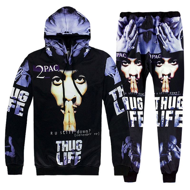 2017 Fashion Hip Hop Men 3D Hooded Tracksuits Sets Printing 2Pac Tupac Fashion Hoodies Sweatshirt And Pants Pullover S-2XL R2413