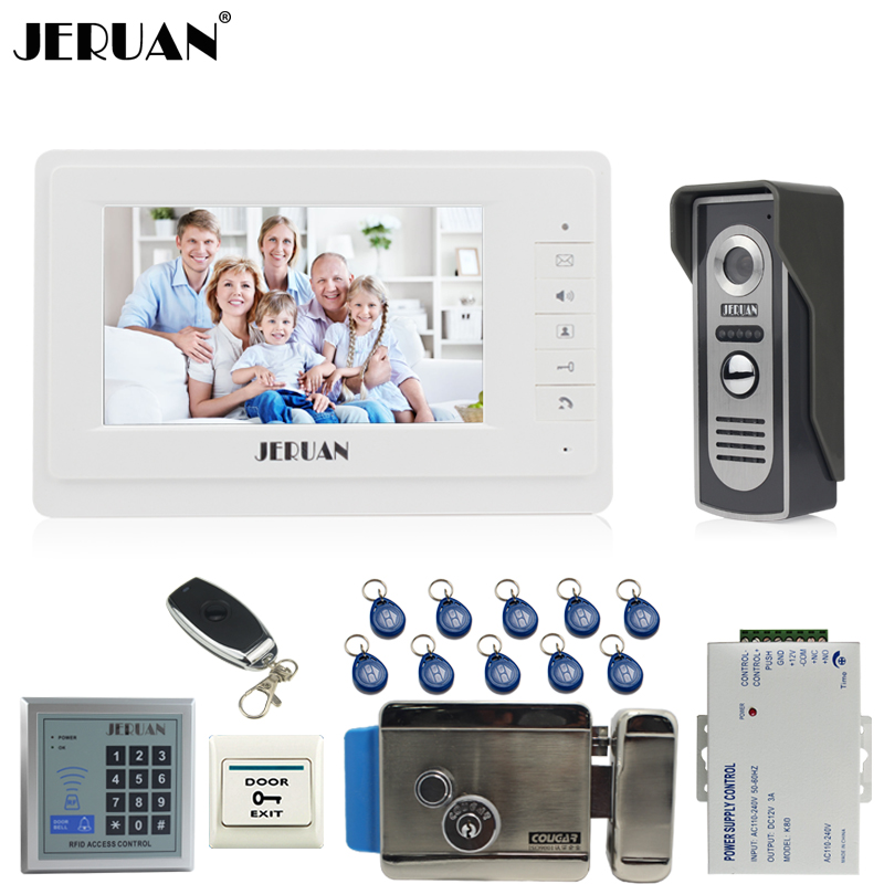 JERUAN Home 7 inch TFT video intercom Door phone system kit 1 white Monitor 700TVL IR COMS Camera RFID Access Controller E-lock jeruan home 7 video door phone intercom system kit 1 white monitor metal 700tvl ir pinhole camera rfid access control in stock