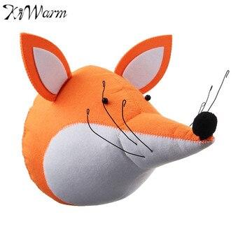 KiWarm Novità 3D Feltro Fox Testa di Animale Montaggio A Parete Farcito giocattoli Bambole Camera Da Letto Decorazione In Feltro Opera D'arte Della Parete Foto Puntelli Ornamenti regalo