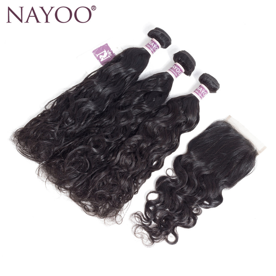 NAYOO Water Wave Bundles With Closure Human Hair Weave 3 Bundles With Lace Closure 4*4 Indian Hair Non Remy Hair Extensions