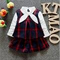 New Spring Autumn Kids Clothes 3pcs Clothing Sets Girls Clothes European Style Plaid Suits T shirt+Vest+shorts Childrent Set Q83
