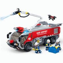 GUDI 9223 9225 New City Ladder Airport Fire Truck model Building Blocks kit Bricks Educational Toys For Children gift Compatible