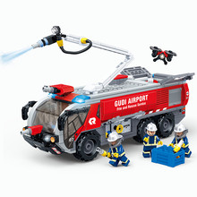 New City Ladder Airport Fire Truck Building Blocks Sets Bricks Educational Toys For Children gift цены