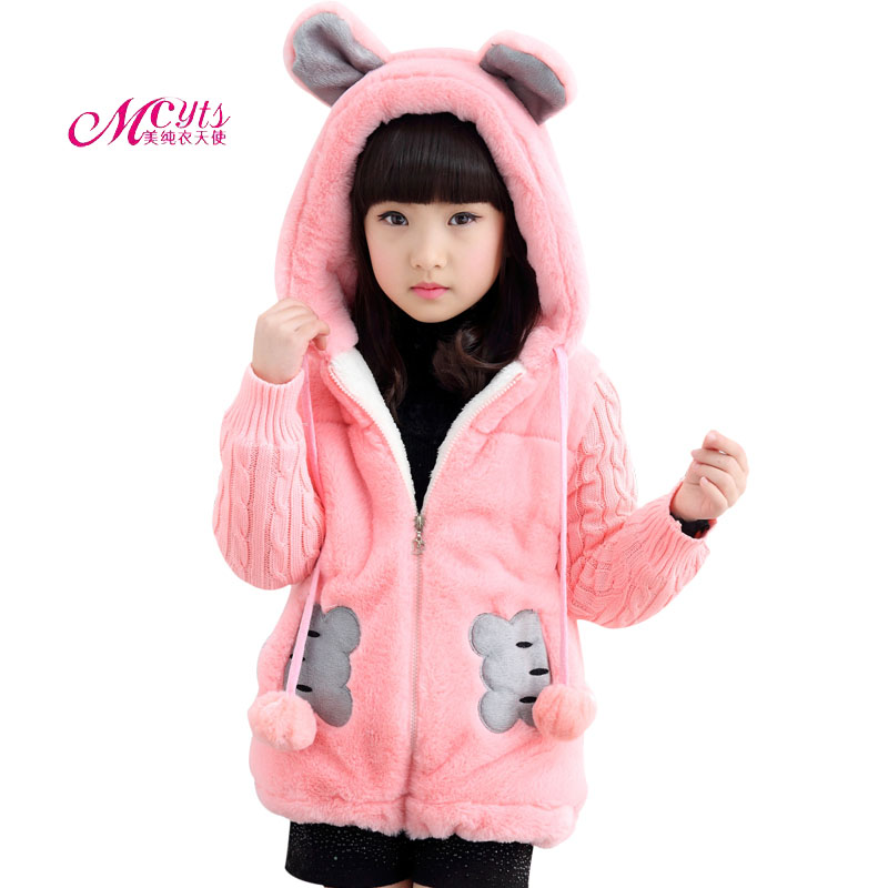 Girls Faux Fur Coat 2019 New Winter Children Clothes Jacket Coats Thick Cute Outerwear Girls Hooded