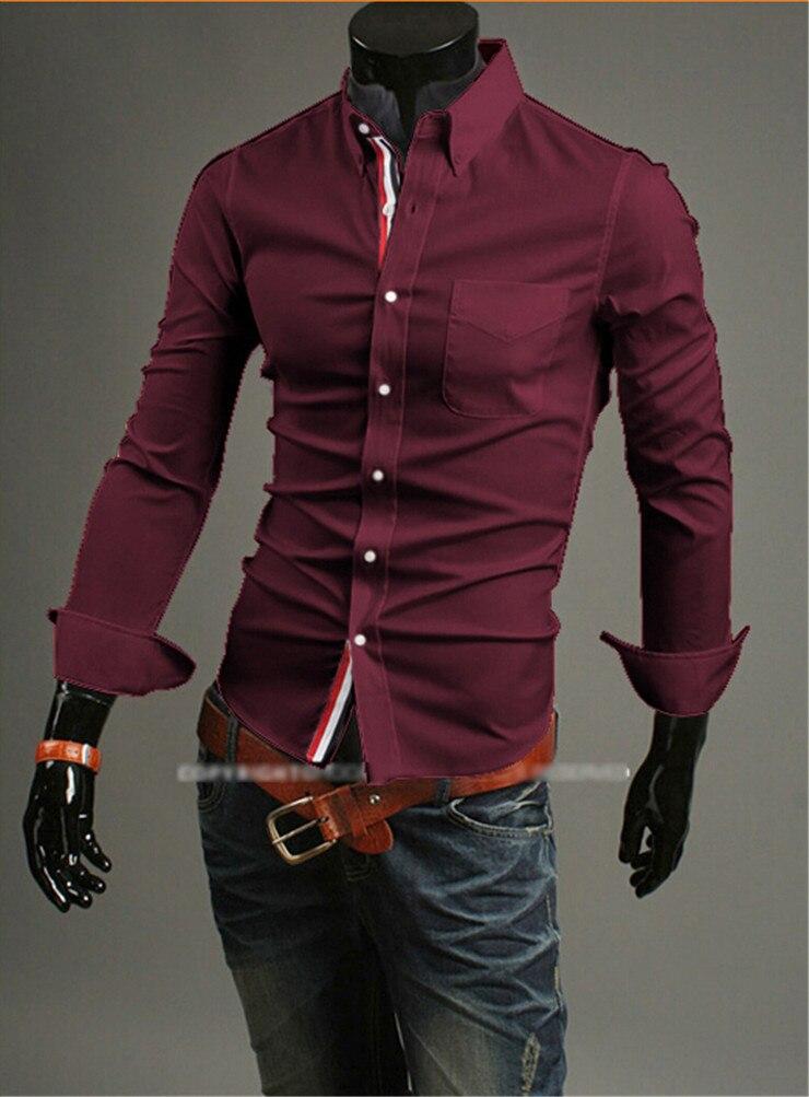 Дешевая перевозка груза горячая новая мода деловой случай slim fit длина длинными рукавами рубашки мужские рубашки досуг марка 5 цвета 5 размера