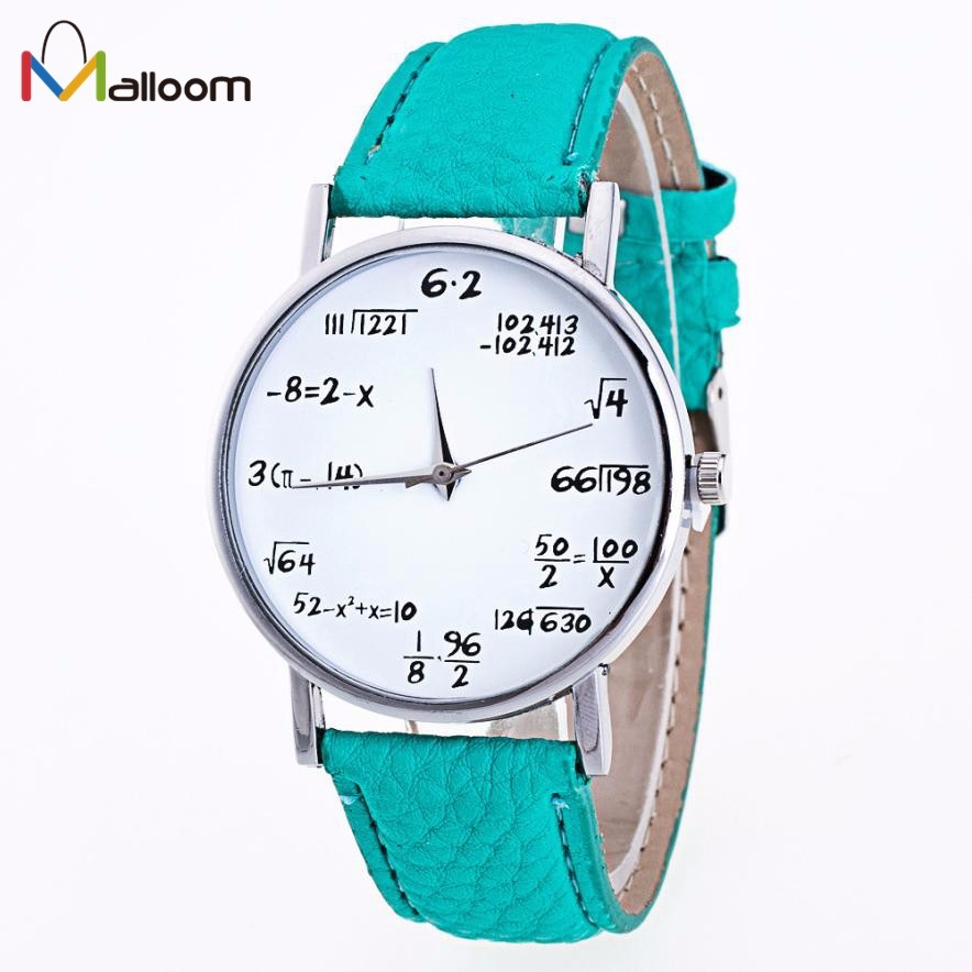 Malloom Vogue Women Leather Watches Mens Funny Numbers Pattern Analog Quartz Watch Lady Casual Clock Women Wrist Watch Reloj #Ju new fashion funny women watches men watch clock analog quartz whatever i m late anyway pattern wrist watch simple wristwatches