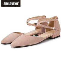 SIMLOVEYO 2019 NEW Shoes woman flats Ladies flats Pointed toe Buckle Flock Female mujer Two piece Big size 33 43 Grey Pink