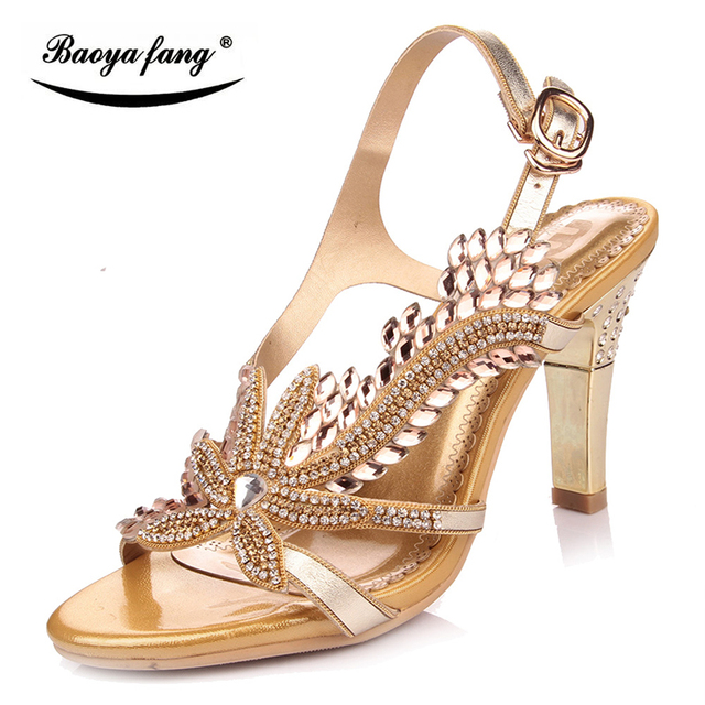 256ebc3588cc New 2017 Summer sandals real leather high heel girls Party sandals fashion  shoes female sandals golden and blue crystal sandals