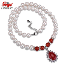 Classic Red Pendant Necklaces for Women 8-9MM White Natural Freshwater Pearls Chorker Necklace Fine Jewelry Wholesale FEIGE