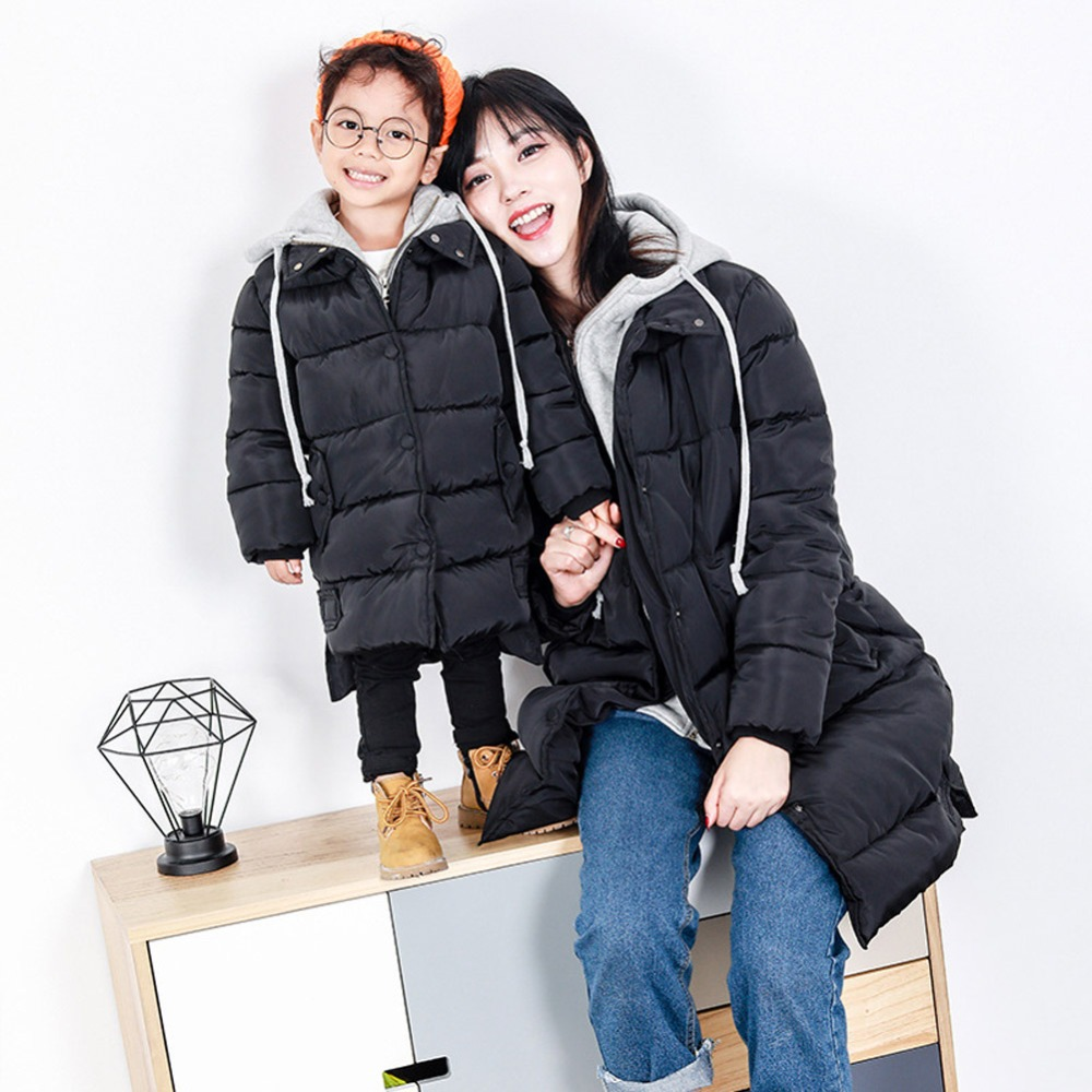 2018 Mother and Daughter Matching Jackets Outfits Girls Family Clothing Winter Coat Girls Long Sleeve Thicken Outwear Clothing M matching family clothing set 2015 autumn style winter family look matching mother daughter father son long sleeve sweater set