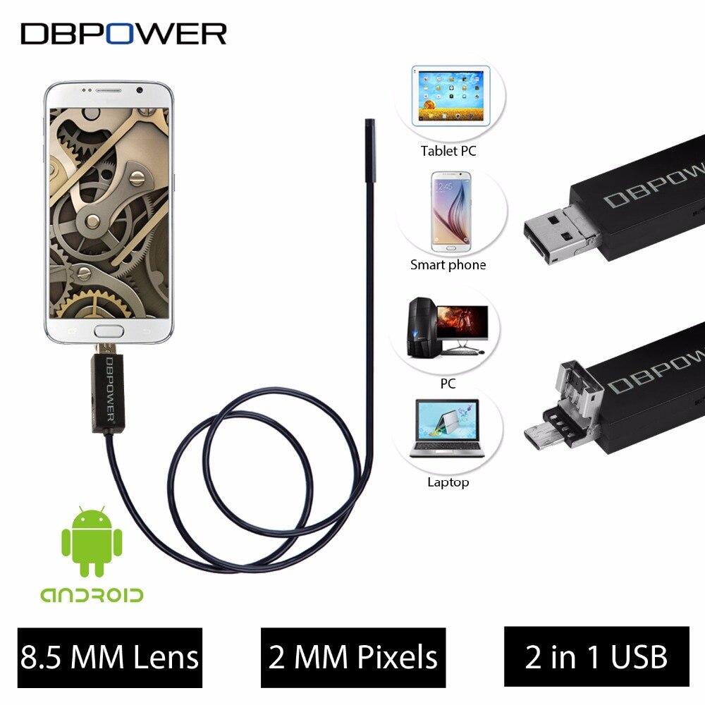 imágenes para DBPOWER 2 en 1 USB Endoscopio 8.5 MM Lente 2 M/5 M/10 M 720 P HD Vídeo boroscopio Serpiente Cámara 6 Unids LED Para Android y PC de La Visión Nocturna