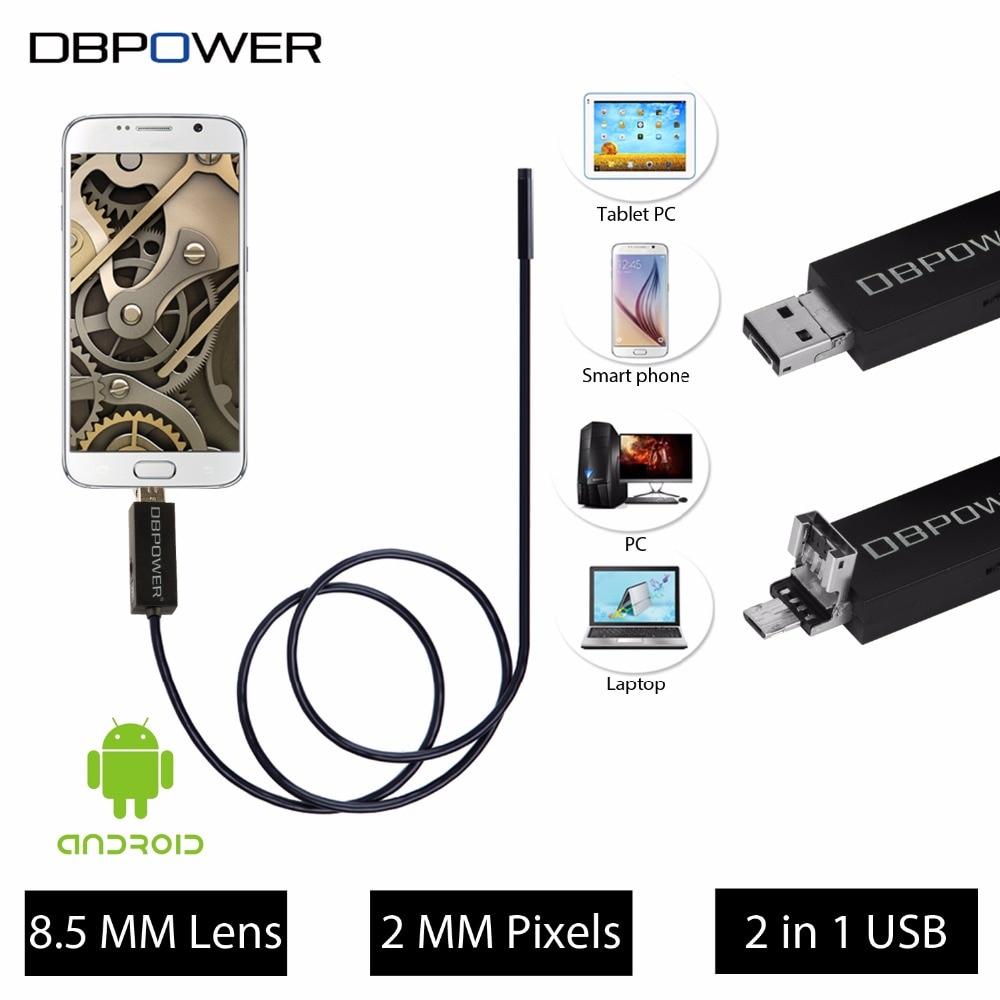 bilder für DBPOWER 2 in 1 USB Endoskop 8,5 MM Objektiv 2 Mt/5 Mt/10 Mt 720 P HD endoskop Video Schlange Kamera 6 Stücke LED Für Android & PC Nachtsicht