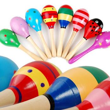 Colorful Mini Wooden Maracas Child Maracas madera Party Musical Instrument Baby Rattle Shaker Children Gift Toy  Sand Hammer 1PC