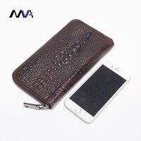 MVA Genuine Leather Men Wallets New Male Purse Zipper Clutch Bag Men S Fashion Wallet Crocodile